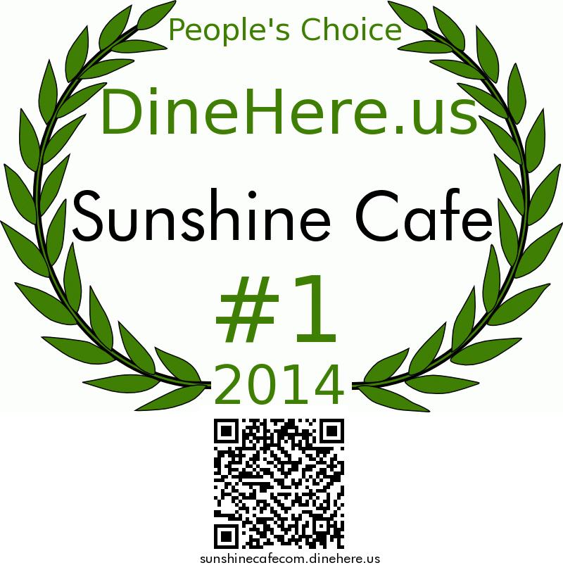 Sunshine Cafe DineHere.us 2014 Award Winner